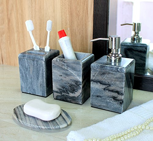 KLEO - Bathroom Accessory Set made from Natural Stone - Bath Accessories set of 4 includes Soap Dispenser, Toothbrush Holder, Utility and Soap - Kleo Accessories