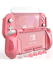 HEYSTOP Case for Nintendo Switch Lite,Dockable TPU Protective Cover for Nintendo Switch Lite Console, with Screen Protector and Thumb Stick Caps, Grip Cover with Shock Absorption and Anti Scratch, Pink