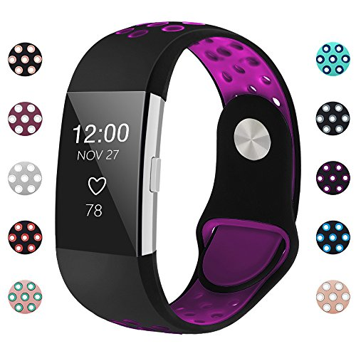 iGK Silicone Replacement Bands Compatible for Fitbit Charge 2, Adjustable Breathable Sport Strap Smartwatch Fitness Wristband with Air Holes Black Plum Small