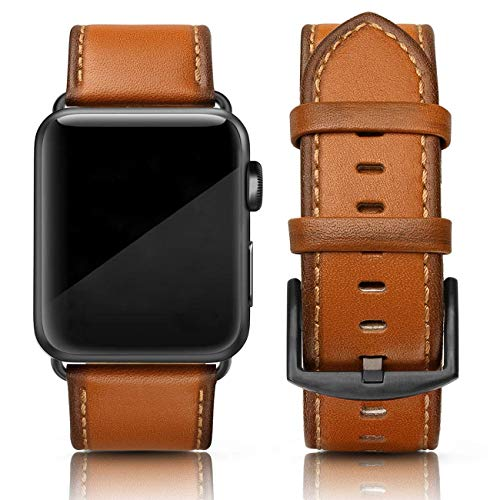 (SWEES Leather Band Compatible for Apple Watch 42mm 44mm, Genuine Leather Retro Vintage Wristband Compatible iWatch Series 4, Series 3, Series 2, Series 1, Sports & Edition Men, Orange)