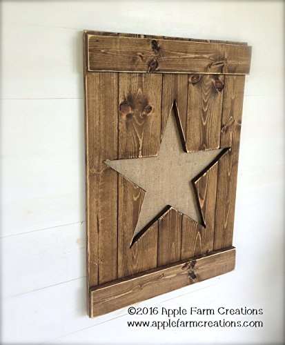 Handmade LARGE Dark Brown Distressed Wood and Burlap Star Wall Hanging
