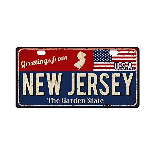 Piece Jersey Frame - InterestPrint Greetings from New Jersey Rusty Metal Sign with American Flag Metal License Plate Tag Sign Decor for Car Woman Man - 11.8