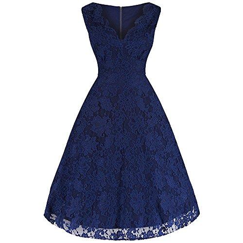 Pretty Kitty Fashion - Robe - Sans Manche - Femme Bleu Bleu Large