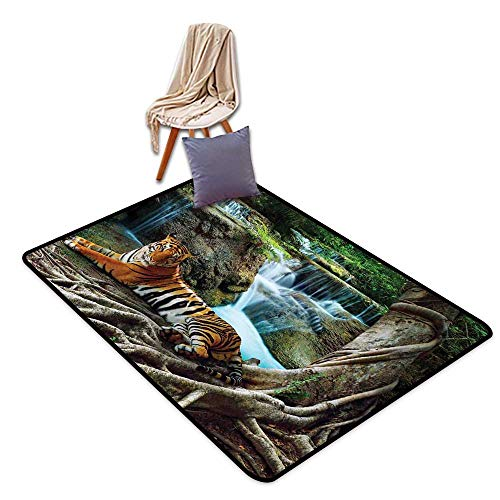 Door Rug Increase Safari Decor Indochina Tiger Lying with Relaxing Under Banyan Tree Against Limestone Waterfalls Picture W47 xL71 Suitable for Restaurants,Family Rooms,corridors,foyers. (Banyan Foyer Table)