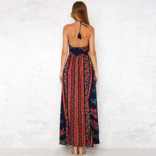 vestidos de mujer,Switchali Mujer verano casual vestido moda floral vestidos Bohemia maxi Vestido de playa atractivo escotado por detrás vestido de Fiesta Nocturna Vestir ropa Rojo