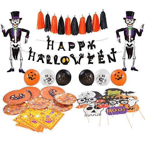 85 pcs Halloween Party Supplies Fun Party Favor Decorations, Large Pack of Hanging Skeleton Props, Photo Props, Balloons, Banner, Plates, Napkins, Tassels Included for Halloween Party -