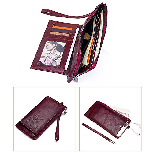 Leather Card Red Long Zipper men's fashion Purse Holder Wallet L 3 Phone Men wallets gpq6WwSAq
