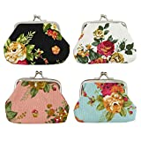 DODOGA Women Girl Canvas Floral Change Pouch with Kiss-Lock Clasp Coin Purses Clutch Coin Pouches Small Mini Vintage Coin Wallet for Small Items,4pcs