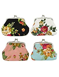 DODOGA Women Girl Canvas Change Purse Change Pouch with Kiss lock Clasp Coin Purse Small Coin Wallet