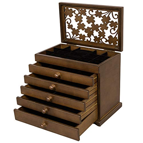 (SONGMICS Large Jewelry Organizer Wooden Storage Box 6 Layers Case with 5 Drawers Gift for Mom,Dark Brown UJOW56W)