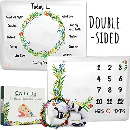 Baby Monthly Milestone Blanket |Double Sided + Wreath Frame| Growth Month Blanket - Best Shower Gift for Newborn Girl & Boy - Floral Age Photo Props Backdrop - 2 Layer Soft Fleece Large 50 x 40