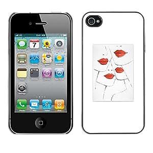 rígido protector delgado Shell Prima Delgada Casa Carcasa Funda Case Bandera Cover Armor para Apple Iphone 4 / 4S /Lips Kiss Fashion Design White Minimalist/ STRONG