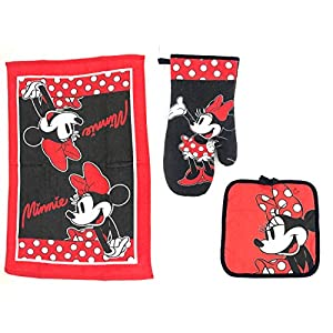 Disney – Minnie Mouse Oven Mitt, Pot Holder, & Dish TowelKitchen Set – Red and Black – 3 Piece Set