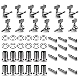 Neewer 12 Pieces Guitar String Tuning Peg Tuner Machine Heads Knobs for Acoustic Guitar -Silver (6 for Left + 6 for Right)
