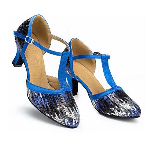 Meijili Womens Glitter Sequins T-strap Latin Dance Wedding Evening Shoes Blue lELVwH5KaG