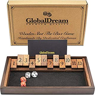 GlobalDream Shut The Box Game - 12 Numbers Wooden Dice Game for Kids and Adults - 2 Players and Up - Shut The Box Game Wooden, Close The Box Game, Shut Box Dice Game