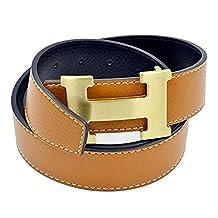 H-Style unisex Leather Belt Width: 3.8 CM gold buckle/brown 105CM 30-33