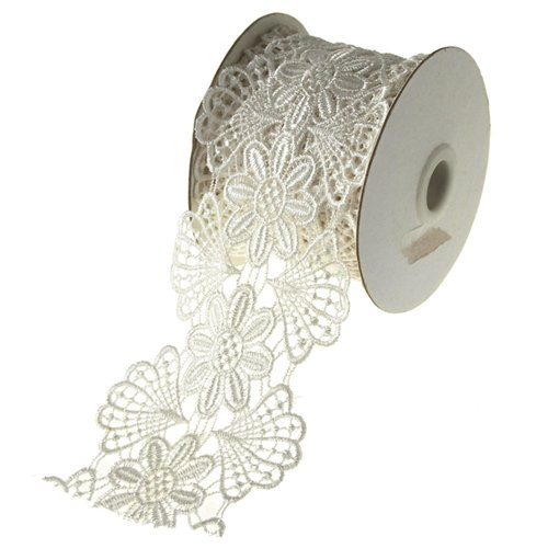 (Homeford Firefly Imports Flower Floral Crochet Trim Ribbon, 3-Inch, 5 Yards, Off White,)