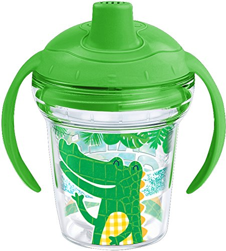 Tervis 1227223 Later Gator Tumbler with Wrap and Rainforest Green Lid 6oz My First Tervis Sippy Cup, Clear - Gator Grip Insulated Handle