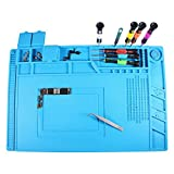 Magnetic Heat Insulation Silicone Mat Repair Kit,Heat-resistant Soldering Mat Silicone Heat Gun BGA Soldering Station Insulation Pad Repair Tools for Mobile Phone and Computer Repair (17.7''11.8'')