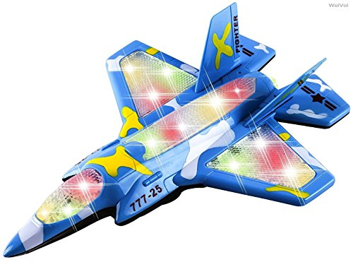 WolVol Military Fighter Airplane Toy with Flashing Lights and Sounds, Bump & Go (Electric Fighter Jet)