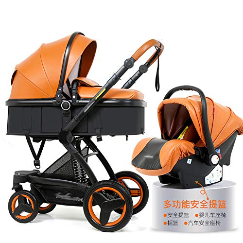 NaNa High Landscape Baby Stroller 3 in 1 Luxury Hot Mom Stroller Travel Pram Reversible Baby Trolley Pink Stroller with Car Seat,10