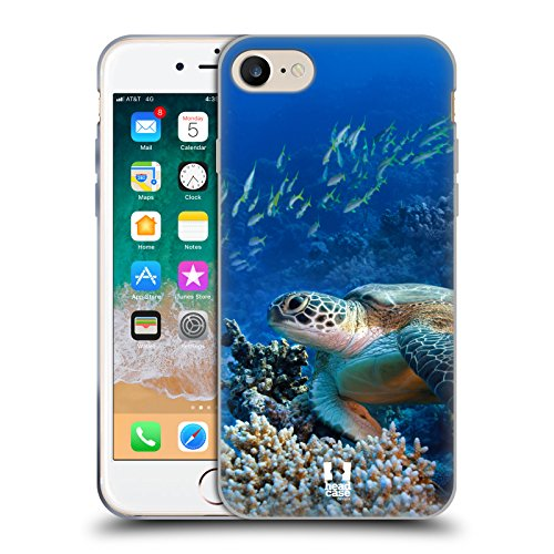 Case+Stand Soft TPU Gel Skin Protector Fits Apple iPhone 7 Plus/8 Plus Snap on Back Cover Sea Turtle Sitting On Ocean Coral Reef