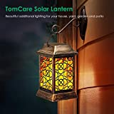 TomCare Solar Lights Metal Solar Lantern Flickering