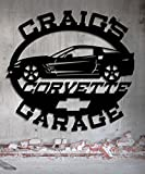 Corvette Garage - Personalized Metal Sign - Metal Wall Art -Customize It - Metal Wall Art Man Cave Gift Grandpa's Dad's Or Custom Name 23.5 Wide x 22.5 Tall