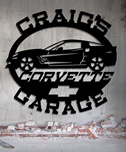 Corvette Man Cave Signs : Corvette garage personalized metal sign wall art