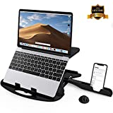 Adjustable Laptop Stand Patented Riser Ventilated Portable Foldable Swivel Compatible with MacBook Notebook Tablet Tray Desk Table Book with Free Phone Stand and Cable Clip