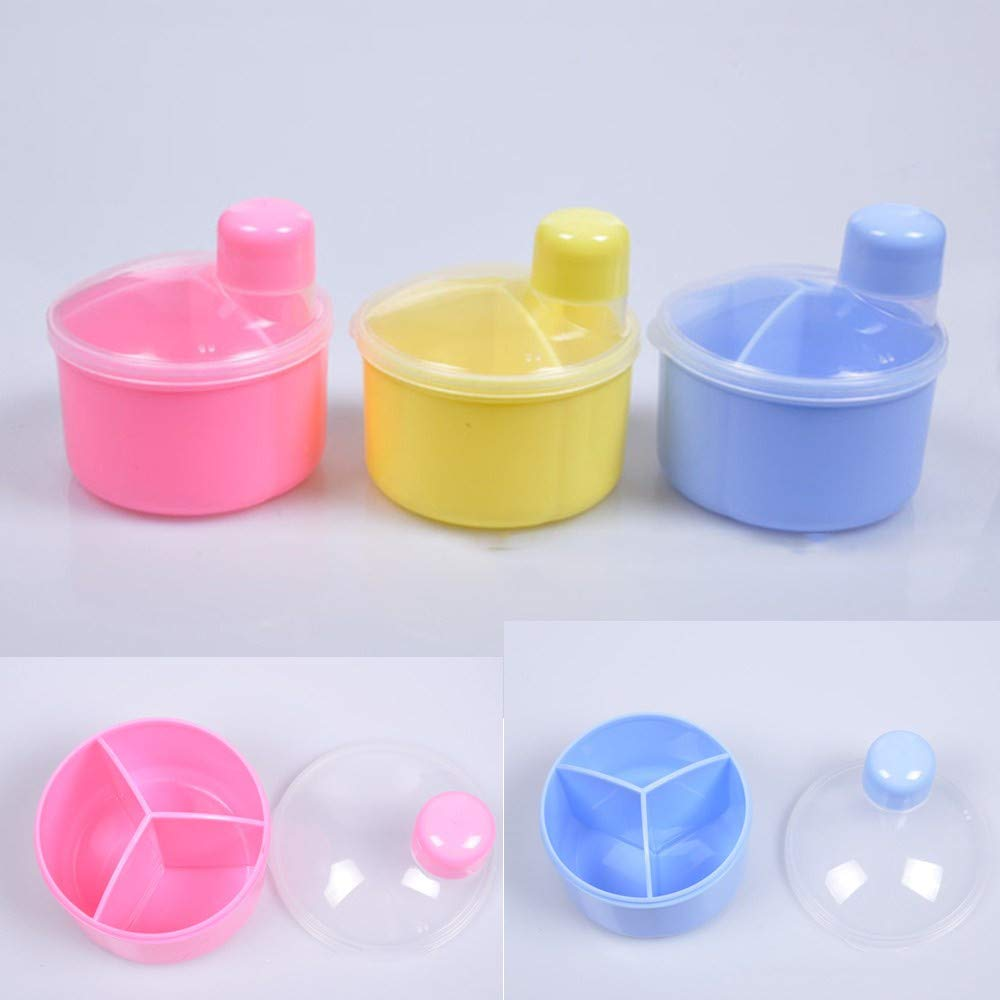 3 Sections Kids Travel Milk Powder Formula Dispenser Container Pot Feeding Box