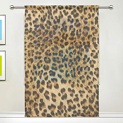 XMCL Window Sheer Curtain Animal Leopard Print Decorative Extra Wide for Living Room Bedroom Kitchen Window Voile Panel 78-84 Inch - Leopard Sheer Panel Curtain