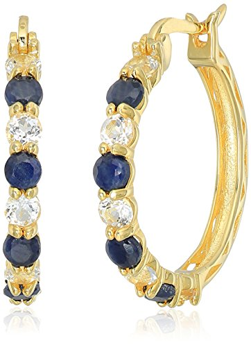 (Yellow Gold-plated Silver 2 cttw Blue Sapphire and White Topaz Hoop Earrings, 1