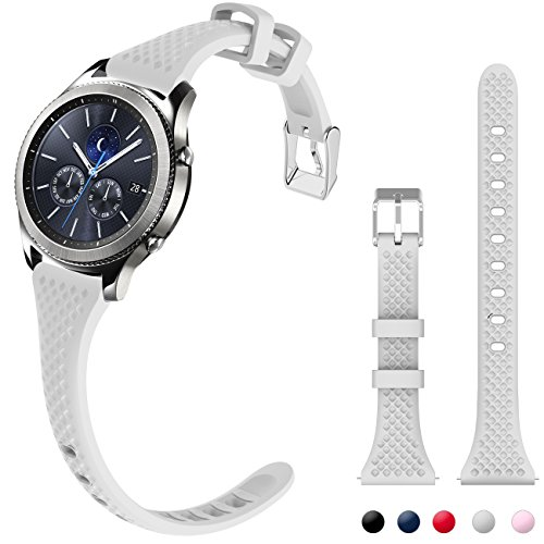 silicone maid LLC Compatible with Gear S3 Bands, Women Watch Bands Extremely Narrow Rubber Watch Strap Quick Release Silicone Wristband Replacement for Samsung Gear s3 Frontier/s3 Classic, Light Gray