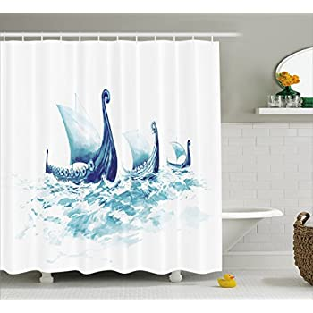 War Home Decor Shower Curtain By Ambesonne Portrait Of Viking Drakkars In Rough Nordic Sea