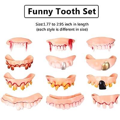 12 Pieces Gnarly Teeth Gag Teeth Ugly Fake Teeth Bob Teeth Vampire Denture Teeth for Halloween Costume Party Favors 12 Styles (Color B): Toys & Games