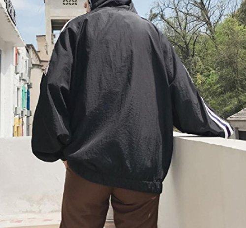 Elegante Protezione Zip Cappotto Di Full Semplicità Nero Uomini Allentato Solare Sottile Incappucciato Doufine q05wdO