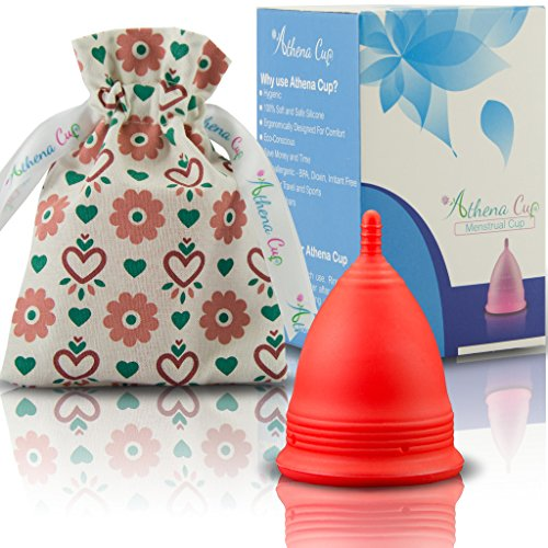 Athena Menstrual Cup - #1 Recommended Period Cup Includes Bonus Bag - Size 2, Solid Red - Leak Free Guaranteed!