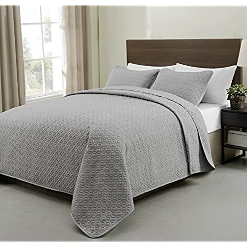 Beautiful Cozy Beddings S1604 4T Allyson 3Pc Quilted Bedspread Light Grey Coverlet,Light  Grey,Twin