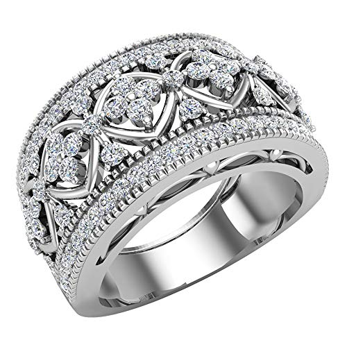 0.95 ct tw Cocktail Diamond Ring Filigree Style 18K White Gold (Ring Size 6)