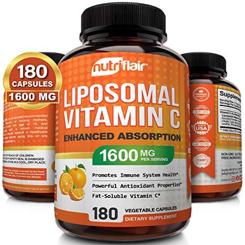 NutriFlair Liposomal Vitamin C 1600mg, 180 Capsules – High Absorption, Fat Soluble VIT C, Antioxidant Supplement, Higher…