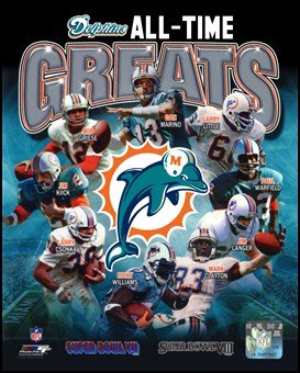 Miami Dolphins All Time Greats Composite Art Poster Print Unknown