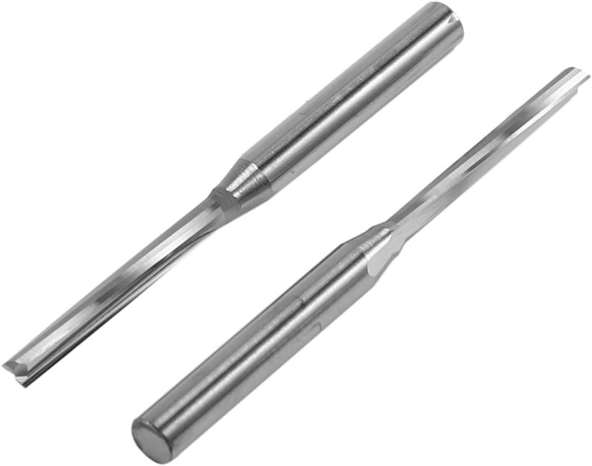 SODIAL 10 Piezas de Dos Flautas Molinos de Extremo Recto Bit de Ranura Recta Cortador de Madera Dos Bits de Flauta Doble 3.175X2X17Mm para Enrutador CNC