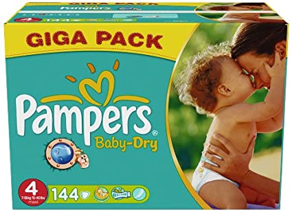 PAMPERS Pañales Baby-Dry Talla 4 maxi (7-18 kg) - Gigapack