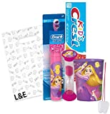 "Disney Princess ""Rapunzel"" 4pc Bright Smile Oral Hygiene Set! Tangled Turbo Powered Toothbrush, Toothpaste. Brushing Timer & Mouthwash Rinse Cup! Plus Bonus ""Remember To Brush"" Visual Aid & Gift Bag!!"