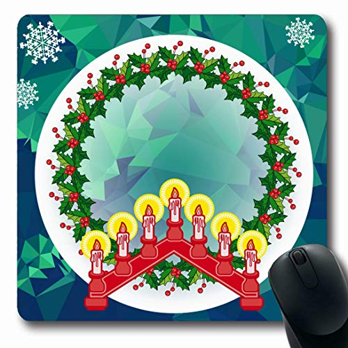 Ahawoso Mousepads for Computers Church Arch Holiday Christmas Garland Candlestick Copy Feast Advent Berry Bridge Candelabra Candle Oblong Shape 7.9 x 9.5 Inches Non-Slip Oblong Gaming Mouse Pad