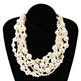 MeliMe Womens Imitation Pearl Twisty Chunky Bib Necklace Chokers for Wedding Party (White)