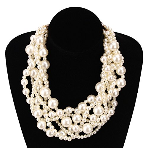 MeliMe Womens Imitation White Pearl Twisty Chunky Bib Necklace Chokers for Wedding Party -