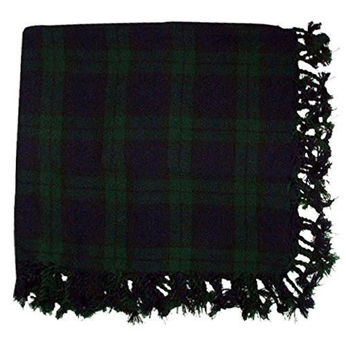 New Kilt Fly Plaid Acrylic Wool Scarf Rolled Fringe Shawl in Different Colors (Black Watch) (Kilt Chair)
